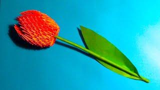 getlinkyoutube.com-3D origami flower tulip tutorial (instruction)