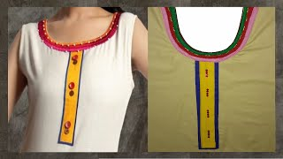 getlinkyoutube.com-How To Cut And Stitch Bias Strips | Round Neckline With Piping | Long Square