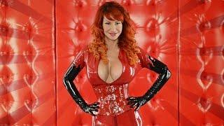 getlinkyoutube.com-Red Latex Catsuit & Corset: Bianca Beauchamp