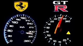 getlinkyoutube.com-NISSAN GTR vs FERRARI 458 ITALIA 0-300 Acceleration Onboard Autobahn top speed ECC RENT Mietwagen