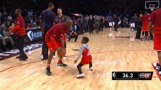 getlinkyoutube.com-NBA MOMENTS - Kobe Bryant plays Zaire Wade and Chris Paul Jr. @ 2016 All-Star Game
