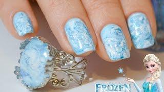 getlinkyoutube.com-Дизайн ногтей с кольцом / Winter Frozen NailArt / Disney Inspired / Разводы на ногтях