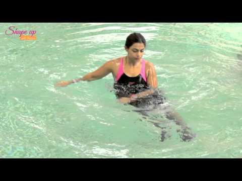 Aqua aerobics tutorial - A quick 4 minute fat burner - Pool workout