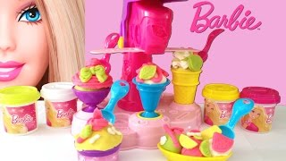 getlinkyoutube.com-Barbie Fábrica de Sorvetes Massinha e Acessórios - Barbie Ice-Cream Fun Factory Playdough