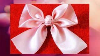 getlinkyoutube.com-Flores lazos y moños Kanzashi diseño de hojas en cintas