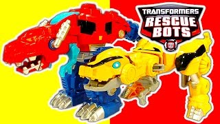 getlinkyoutube.com-Transformers 1-Step Robot Toys & Rescue Bots Dinobots Toy Review