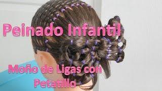 getlinkyoutube.com-Peinados Infantiles Moño de Ligas con Petatillo / Peinados con ligas paso a paso