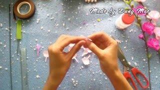 getlinkyoutube.com-[DIY] Peach blossom paper flowers/桃花 - hướng dẫn làm hoa đào từ giấy nhún | by Dzung Mac