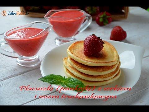 Placuszki (pankejki) z serkiem i sosem truskawkowym