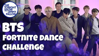BTS and Jimmy Fallon Do the Fortnite Dance Challenge width=