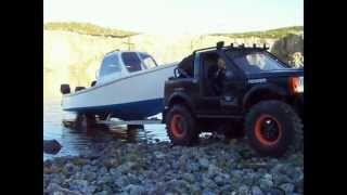 getlinkyoutube.com-RC scale fishing boat launch on trailer, discovery. brass trailer with working everything.