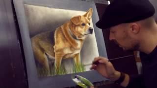 getlinkyoutube.com-Portrait gemalt nach Foto in 3D in Öl / Trick Art