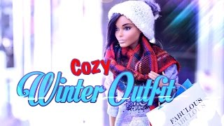 getlinkyoutube.com-DIY - How to Make: Cozy Winter Outfit - Sweat Shirt - Sweat Pants - Scarf - Doll Craft - 4K