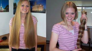 getlinkyoutube.com-haircut on long blonde hair to a bob