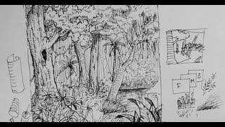 getlinkyoutube.com-Pen & Ink Drawing Tutorials | How to draw a forest scene or background