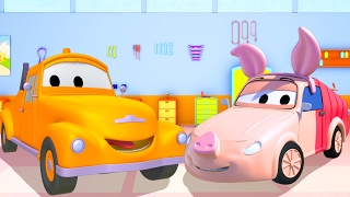 Tom the Tow Truck's Paint Shop: Tyler is Winnie the Pooh in Car City | Truck cartoons for kids 🐻 🚗