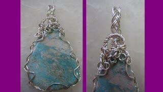 getlinkyoutube.com-Easy Wire Wrap Pendant - 2 Wire Braid | Liz Kreate
