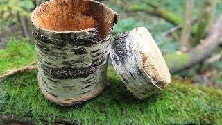 getlinkyoutube.com-Simple Birch Bark container - Коробочка из бересты быстро)