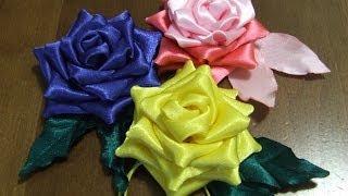 getlinkyoutube.com-Розы из ткани Цветы из атласной  ленты в стиле канзаши.
