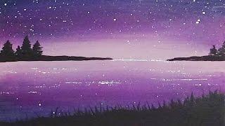 getlinkyoutube.com-Acrylic Silhouette Painting - Dawn Cove