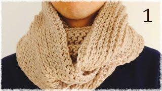getlinkyoutube.com-ニット風かぎ編みスヌードの編み方(1)diy crochet cowl like knit