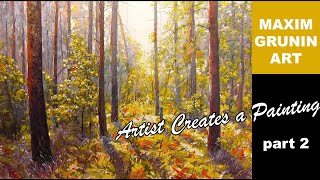 getlinkyoutube.com-Maxim Grunin landscape painting in acrylics part 2