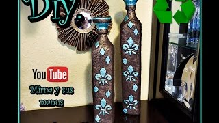 getlinkyoutube.com-Diy. Decorando Botella de Vidrio Mirna y sus manus. Decorating Glass Bottle