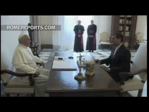 Pope Francis meets with president of Ecuador and shows his 'environmentally friendly' side