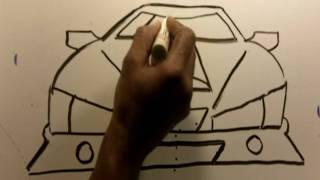 getlinkyoutube.com-How To Draw Cartoon Custom Car ( front view) the EZ Way