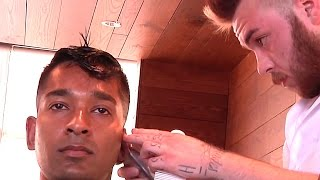 getlinkyoutube.com-Expert Pompadour Fade Haircut And Style Complete With Shampoo, Scalp Massage and Facial