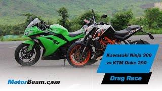 getlinkyoutube.com-Kawasaki Ninja 300 vs KTM Duke 390 - Drag Race - MotorBeam