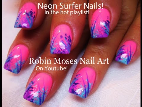 Easy Nail Art For Beginners!   DIY Nail Design   Neon Pink Surfer Nails!