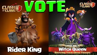 getlinkyoutube.com-Clash of Clans NEW Heroes Witch Queen/Hog Rider King Vote for Ideas