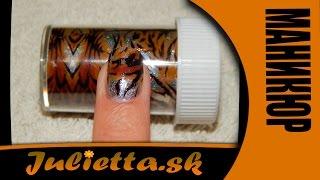 getlinkyoutube.com-Маникюр. Тигровый Дизайн ногтей с помощью Фольги