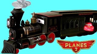 getlinkyoutube.com-Muir Train Transporter Disney Planes2 Fire & Rescue & Pixar Cars Lightning McQueen