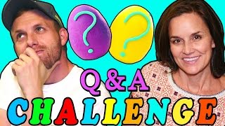 getlinkyoutube.com-Q & A Challenge with Rainbow Play Doh Surprise Eggs! Learn About Brandon & Amy Jo from DCTC