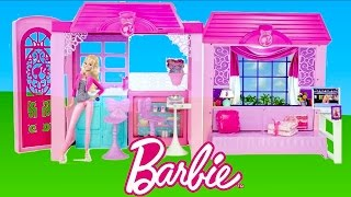 getlinkyoutube.com-Barbie Glam Vacation House unboxing and Tour | TheChildhoodLife