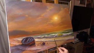 getlinkyoutube.com-Oil painting demo. Evening by the sea. Вечер у моря. Живопись маслом Alla Prima