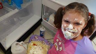 "getlinkyoutube.com-Bad Baby Victoria Makes Mess Spatula Girl vs Spider Attack ""Toy Freaks"""