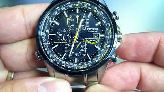 getlinkyoutube.com-Citizen Blue Angels World Chrono A-T Eco-Drive Atomic Watch AT8020-54L