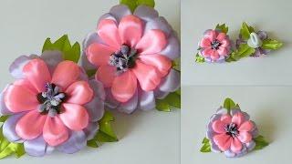 getlinkyoutube.com-Цветы из лент  Резинка для волос канзаши