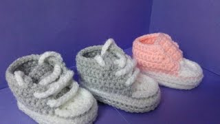 getlinkyoutube.com-How to crochet My easy new born baby converse style slippers p3