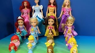 getlinkyoutube.com-LEARN SIZES FROM SMALLEST TO BIGGEST with Disney Princess Ariel Rapunzel Belle Cinderella Dolls