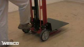 getlinkyoutube.com-Wesco Two Wheeled Hydraulic Pedalifts in Platform & Fork Models
