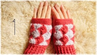 getlinkyoutube.com-ハンドウォーマーの編み方・作り方(1)【かぎ編み/キャサリンの車輪編み】 crochet catherin wheel stitch