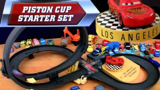 getlinkyoutube.com-Piston Cup Starter Set speedway track Loop playset Cars 2 Disney Pixar Review by Blucollection