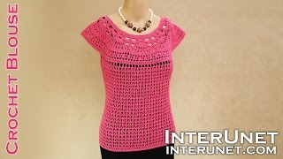 getlinkyoutube.com-Lace summer top - pink camellia blouse crochet pattern