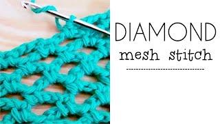 getlinkyoutube.com-How to crochet DIAMOND MESH stitch / DIAMOND LACE ♥ CROCHET LOVERS