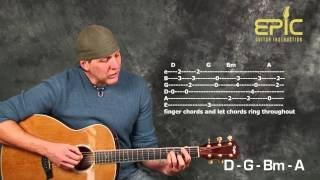 Acoustic guitar lesson learn Sheryl Crow Strong Enough with chords strum patterns timing rhythms