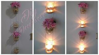 getlinkyoutube.com-DECORAÇÃO COM POTES DE VIDRO   Faça você mesmo - Pendente de velas e flores!